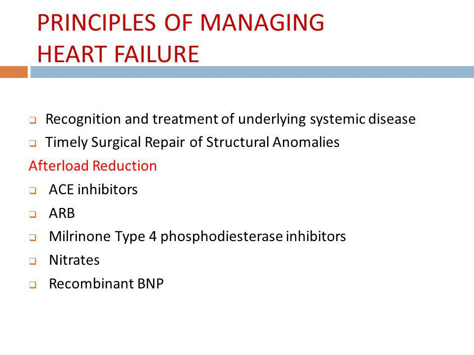 PRINCIPLES OF MANAGING HEART FAILURE