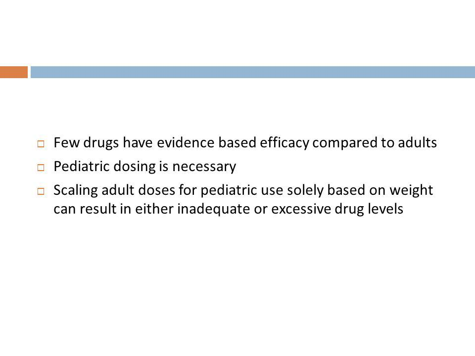 Few drugs have evidence based efficacy compared to adults