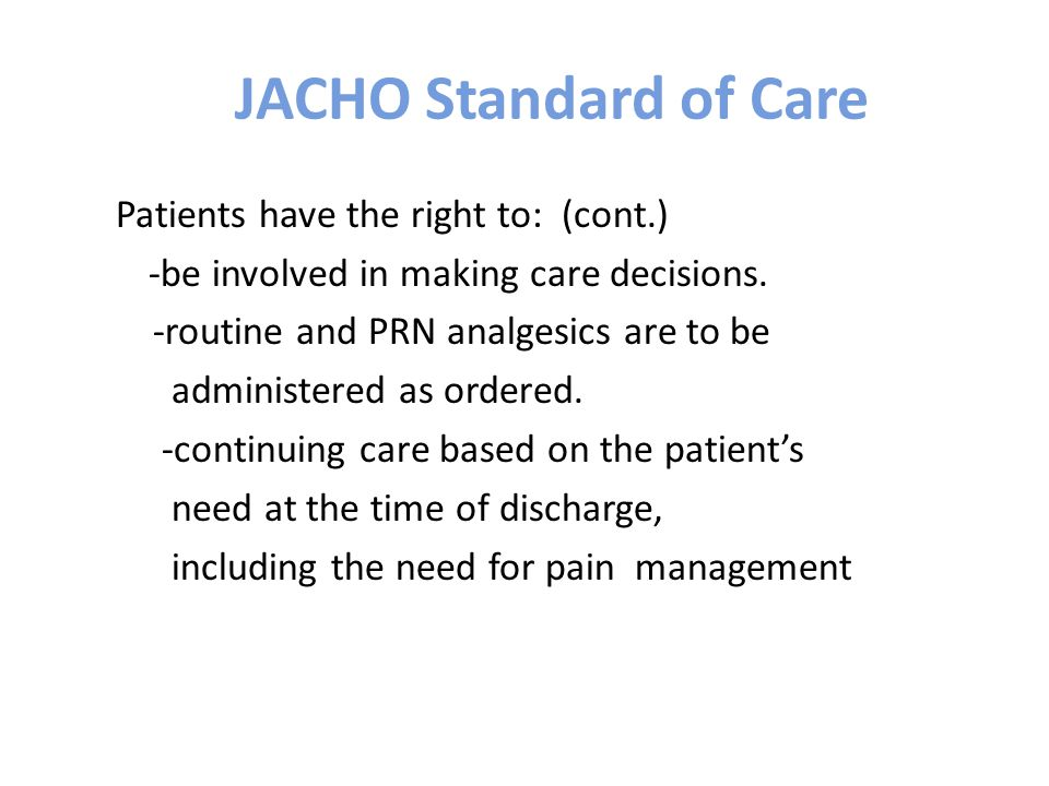 JACHO Standard of Care