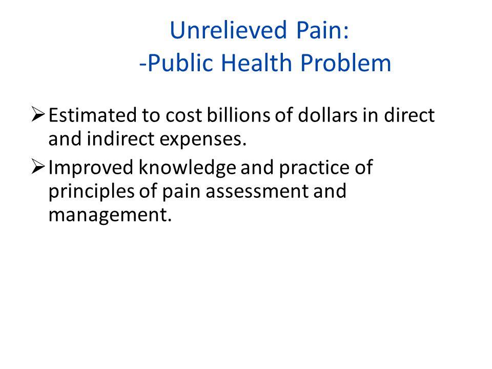 Unrelieved Pain: -Public Health Problem