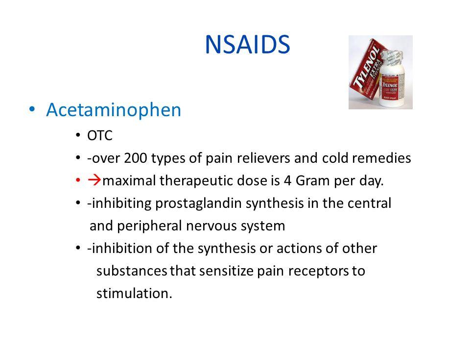 NSAIDS Acetaminophen OTC