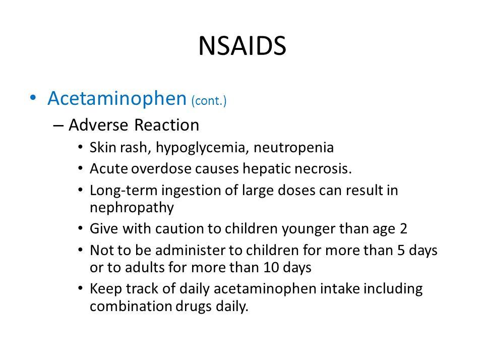 NSAIDS Acetaminophen (cont.) Adverse Reaction