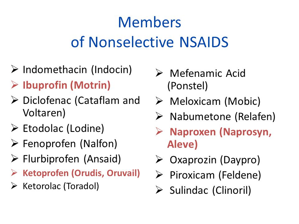 Members of Nonselective NSAIDS