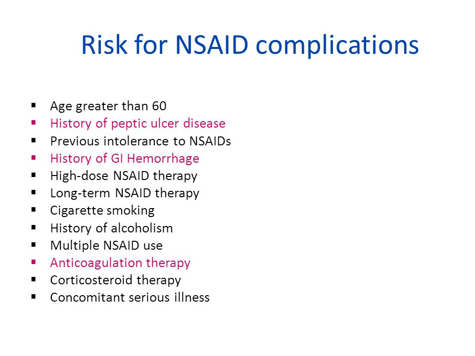 Risk for NSAID complications