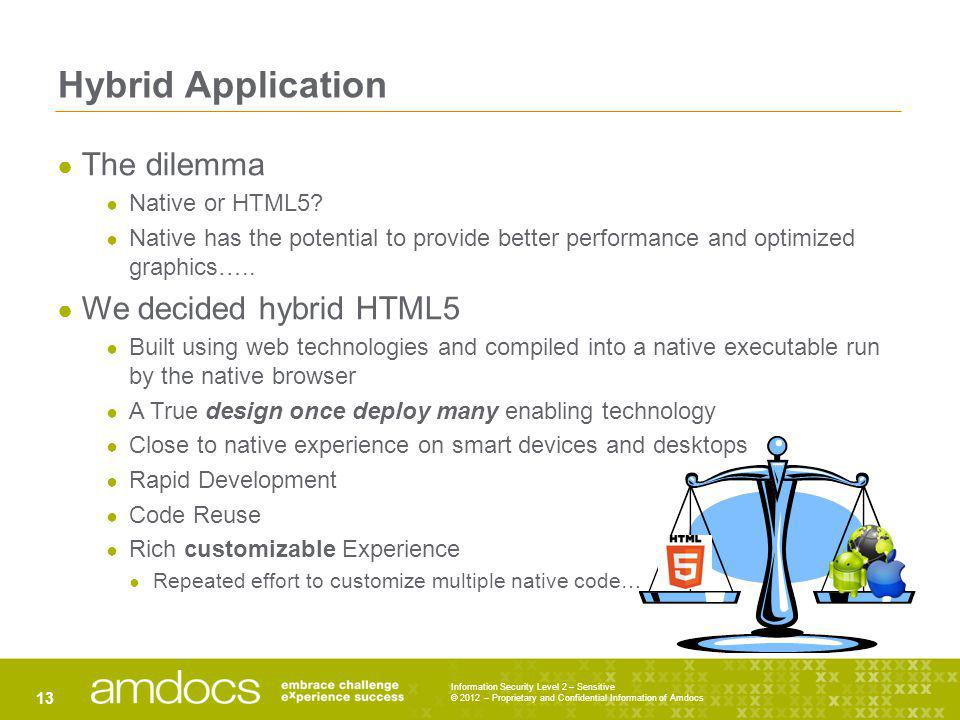 Hybrid Application The dilemma We decided hybrid HTML5