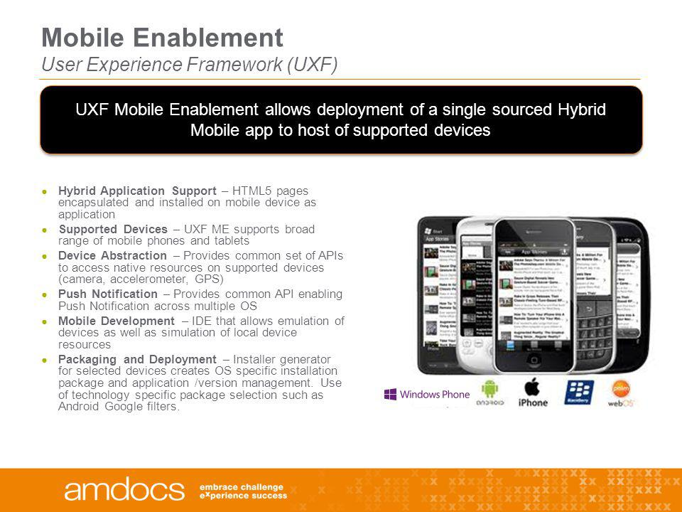 Mobile Enablement User Experience Framework (UXF)