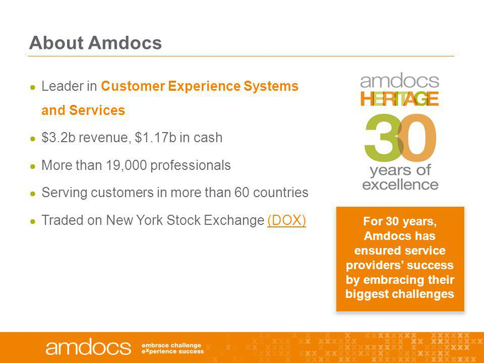 About Amdocs Leader in Customer Experience Systems and Services