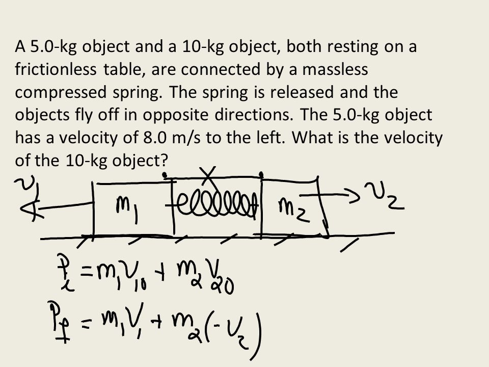 A 5.0-kg object and a 10-kg object, both resting on a frictionless table, are connected by a massless compressed spring. The spring is released and the objects fly off in opposite directions. The 5.0-kg object has a velocity of 8.0 m/s to the left. What is the velocity of the 10-kg object