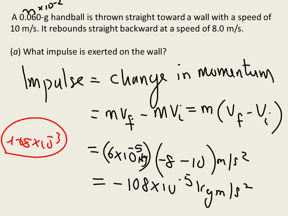 (a) What impulse is exerted on the wall