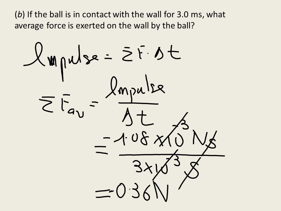 (b) If the ball is in contact with the wall for 3