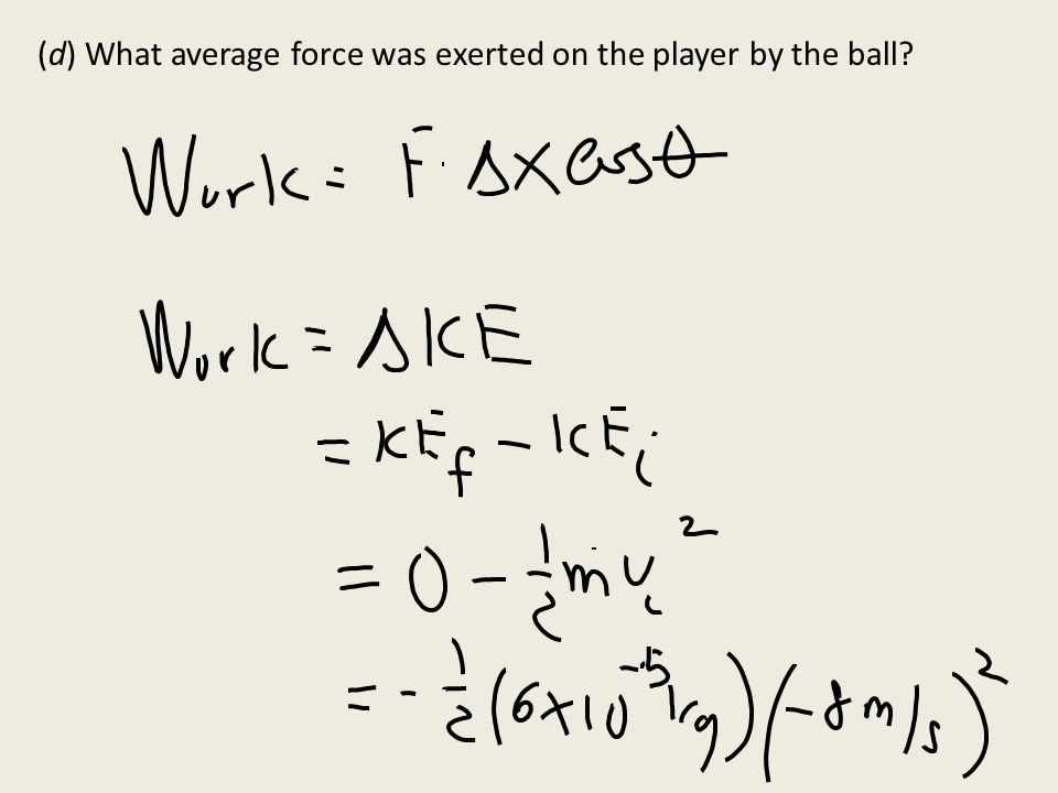 (d) What average force was exerted on the player by the ball