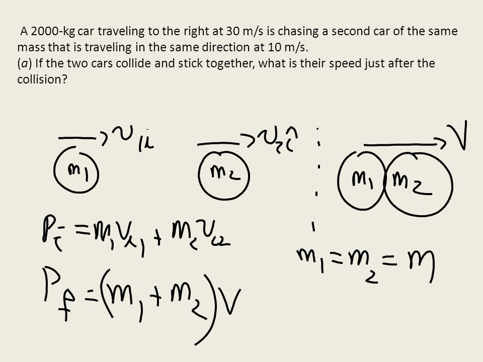 A 2000-kg car traveling to the right at 30 m/s is chasing a second car of the same mass that is traveling in the same direction at 10 m/s.