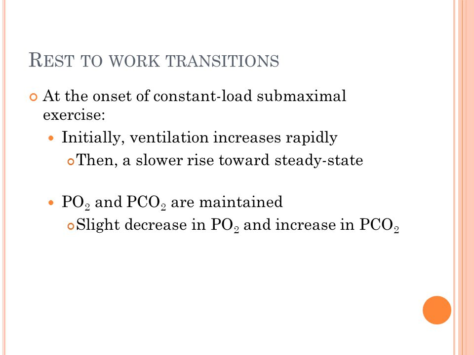 Rest to work transitions