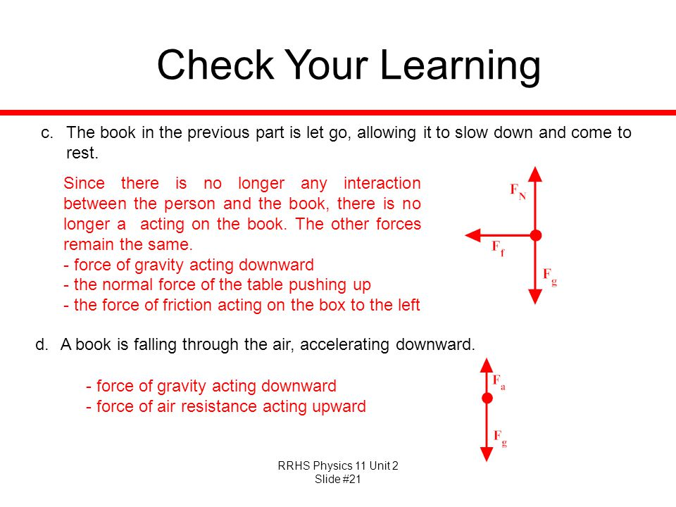 Check Your Learning The book in the previous part is let go, allowing it to slow down and come to rest.