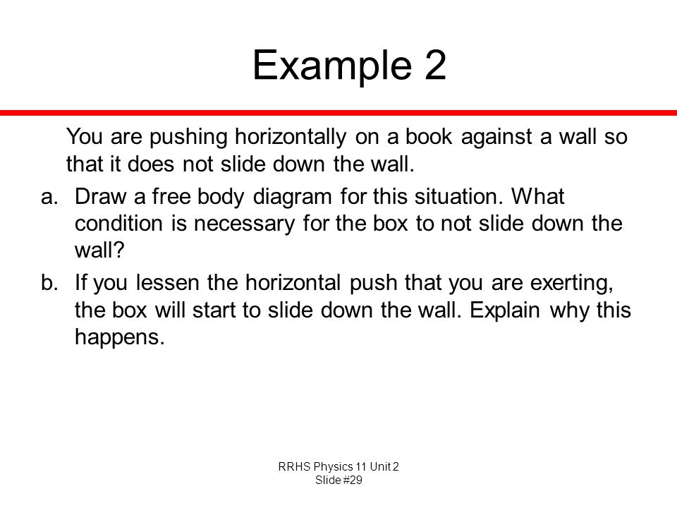 Example 2 You are pushing horizontally on a book against a wall so that it does not slide down the wall.