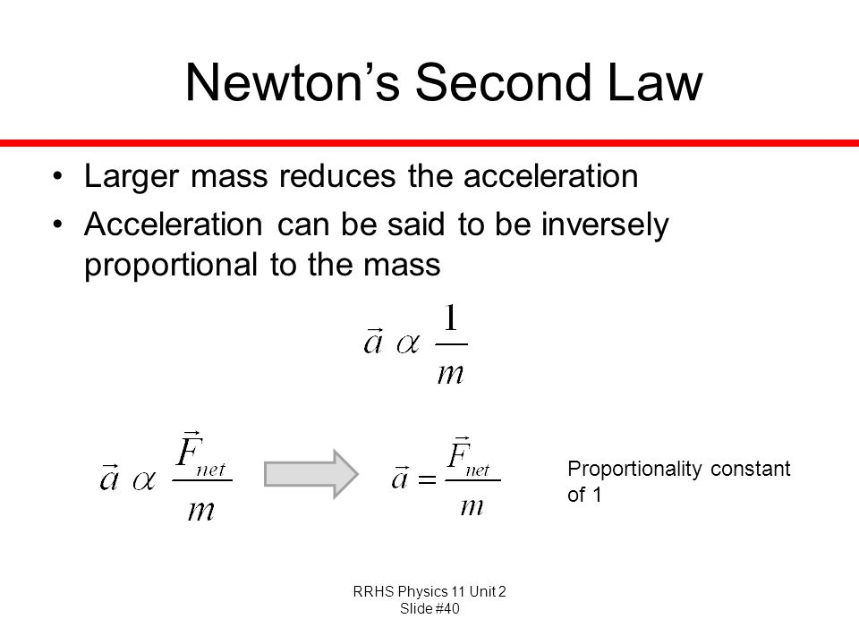 Newton's Second Law Larger mass reduces the acceleration