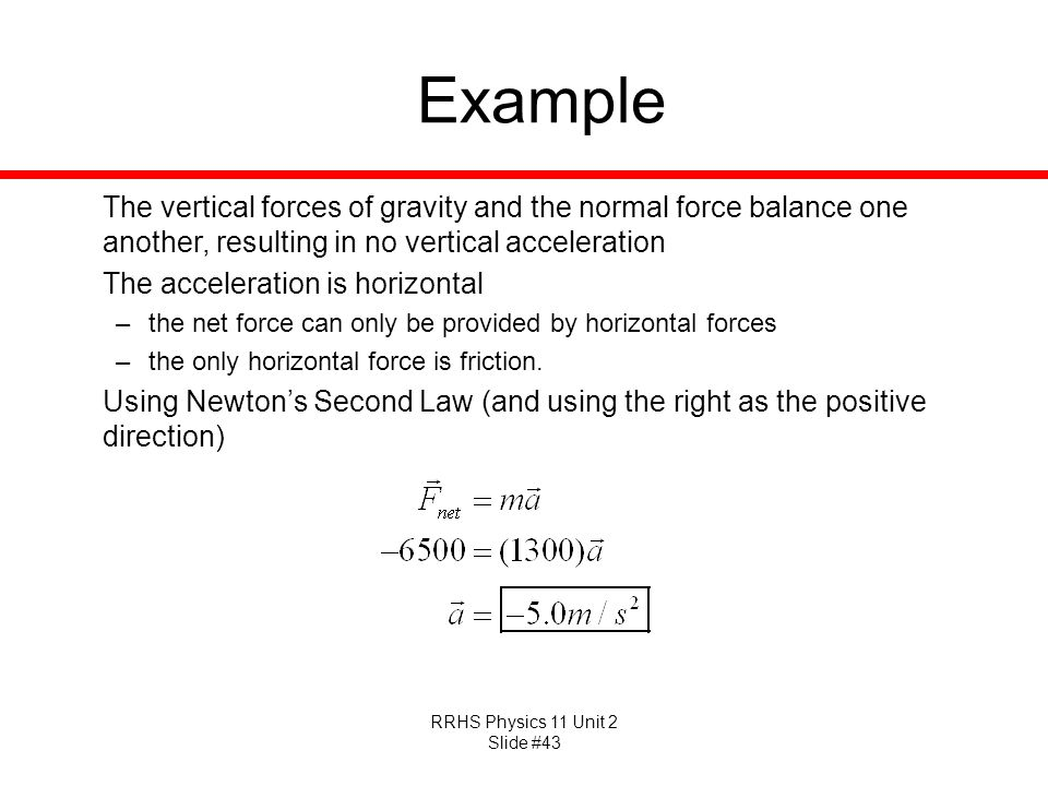 Example The vertical forces of gravity and the normal force balance one another, resulting in no vertical acceleration.
