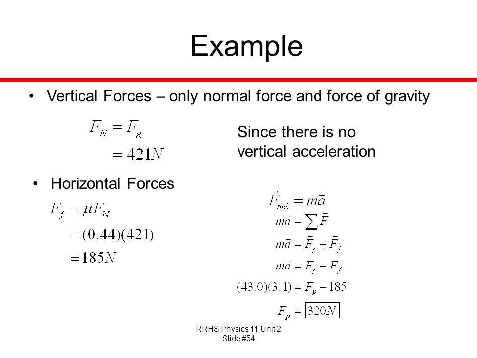 Example Vertical Forces – only normal force and force of gravity