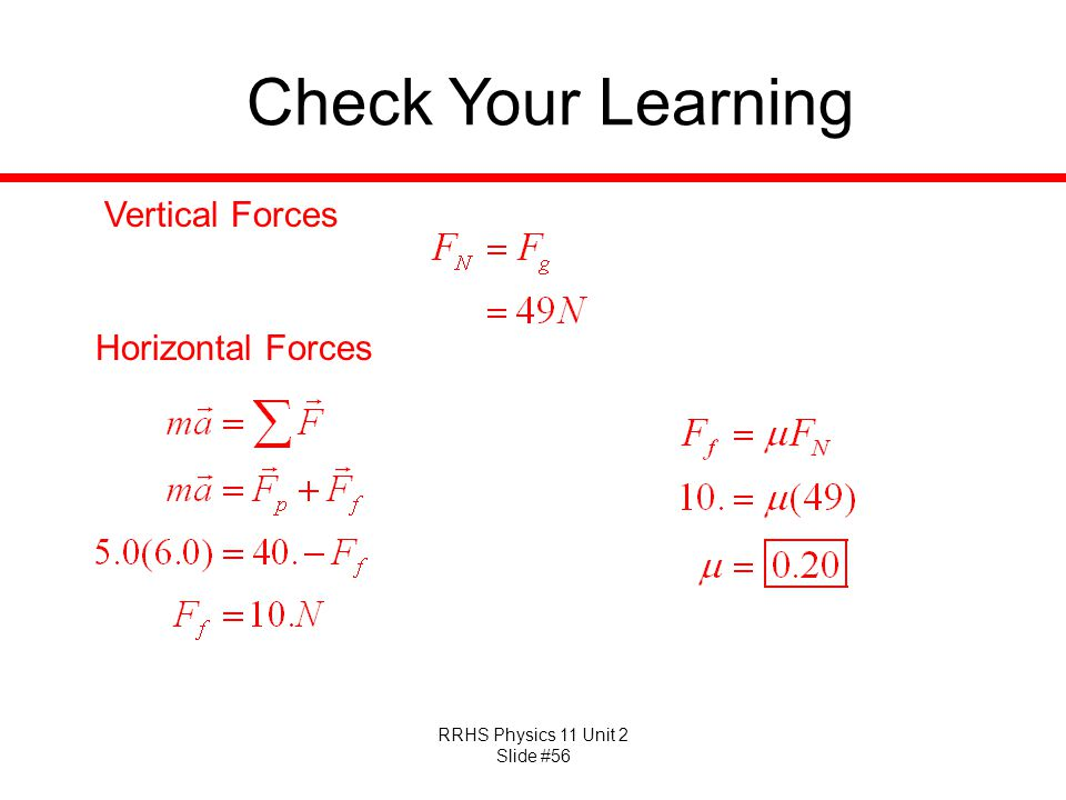 Check Your Learning Vertical Forces Horizontal Forces