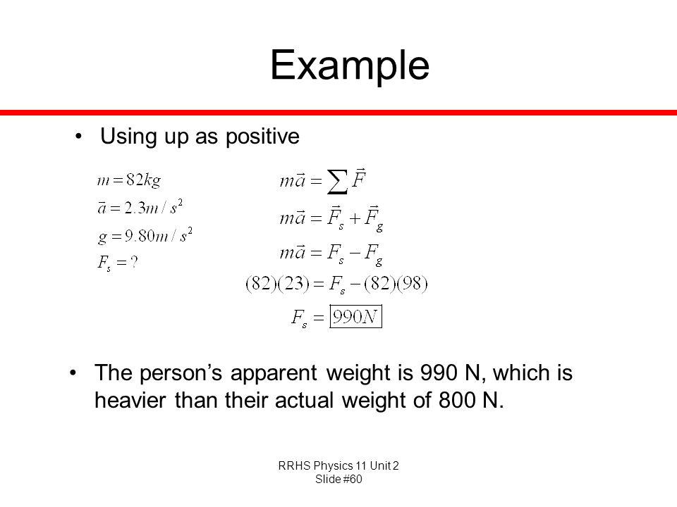 Example Using up as positive