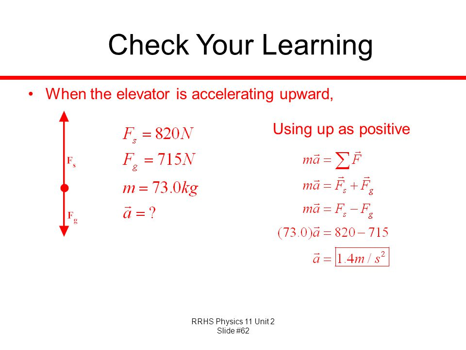 Check Your Learning When the elevator is accelerating upward,