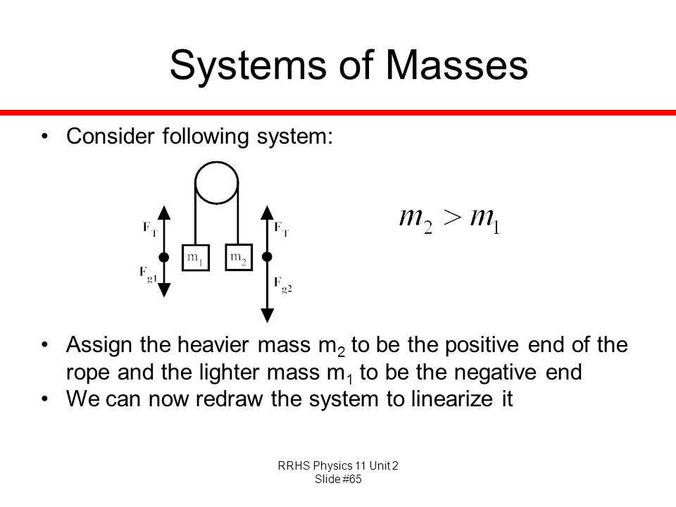 Systems of Masses Consider following system: