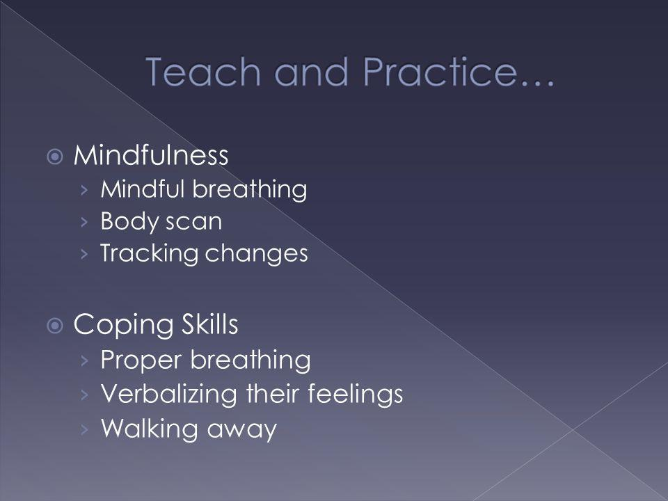 Teach and Practice… Mindfulness Coping Skills Proper breathing
