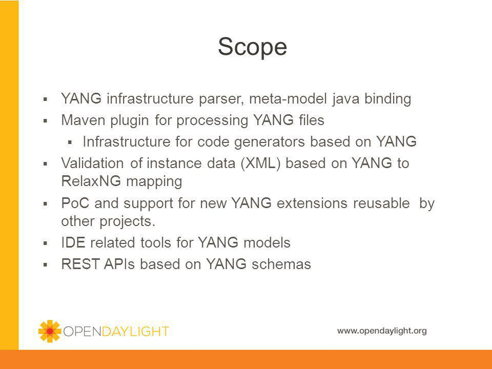 Scope YANG infrastructure parser, meta-model java binding