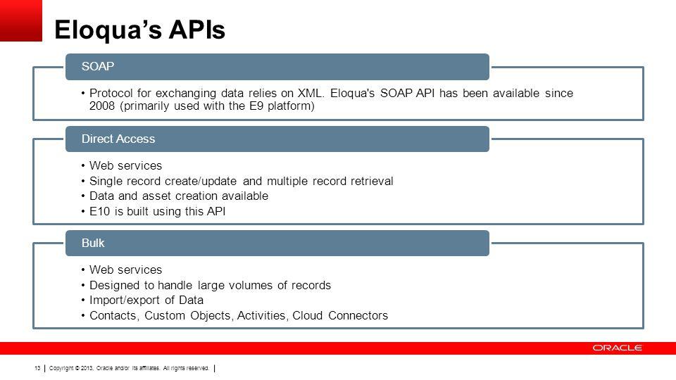 REST and Bulk API Eloqua's APIs. SOAP.