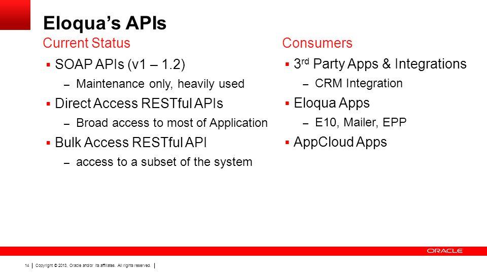 Eloqua's APIs Current Status Consumers SOAP APIs (v1 – 1.2)