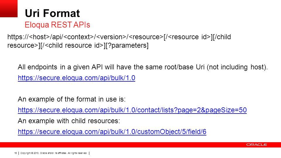 Uri Format Eloqua REST APIs