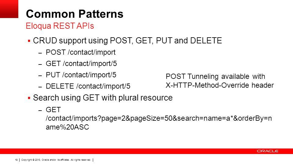 Common Patterns Eloqua REST APIs