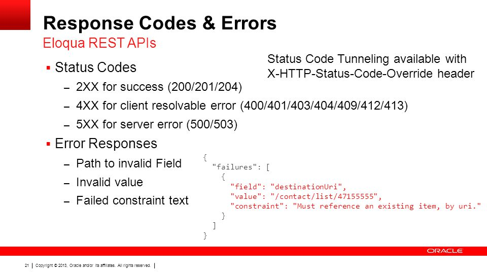 Response Codes & Errors