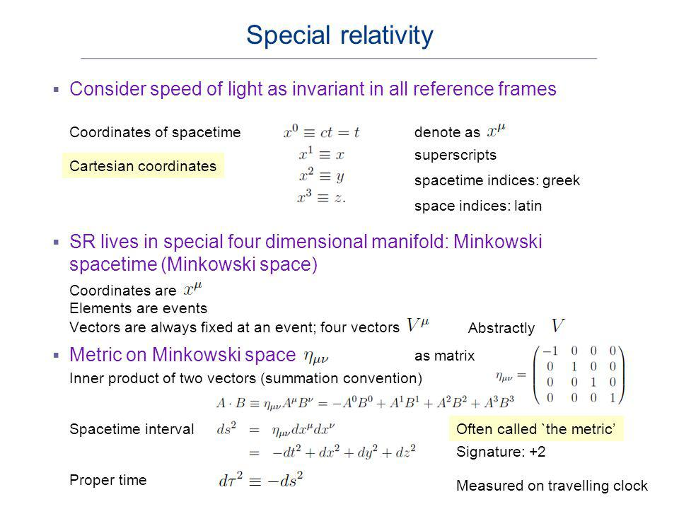 Special relativity Consider speed of light as invariant in all reference frames. Coordinates of spacetime.