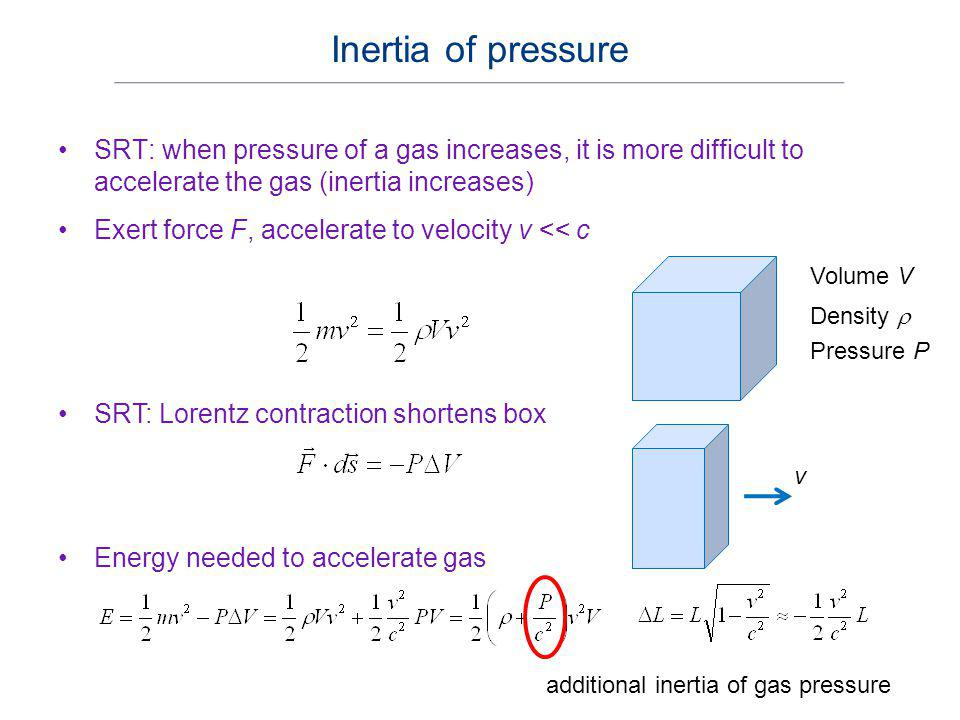 Inertia of pressure SRT: when pressure of a gas increases, it is more difficult to accelerate the gas (inertia increases)