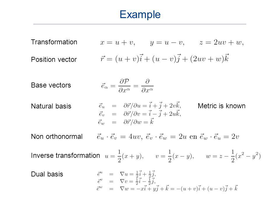 Example Transformation Position vector Base vectors Natural basis