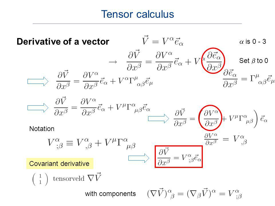 Tensor calculus Derivative of a vector a is 0 - 3 Set b to 0 Notation