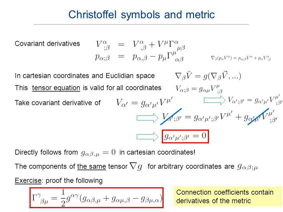 Christoffel symbols and metric