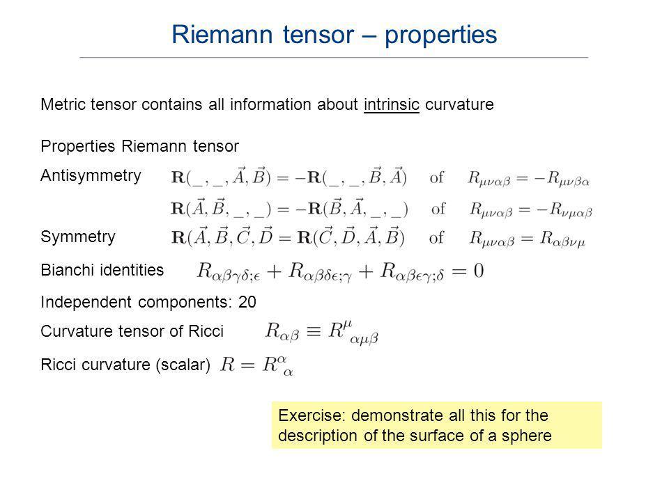 Riemann tensor – properties