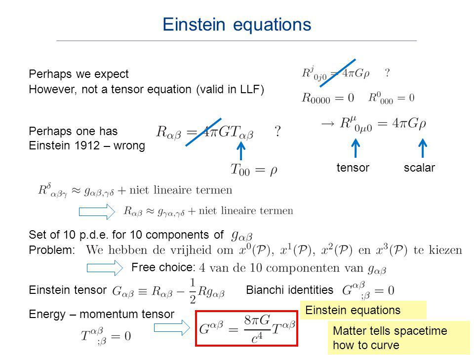 Einstein equations Perhaps we expect