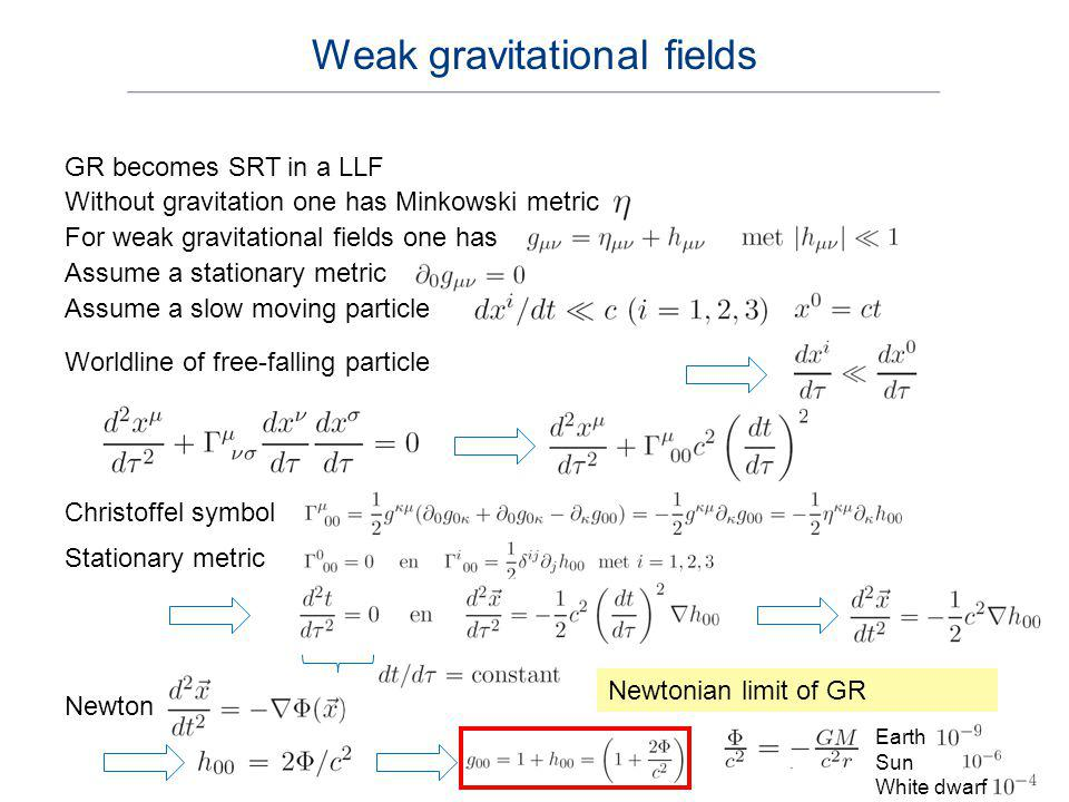 Weak gravitational fields