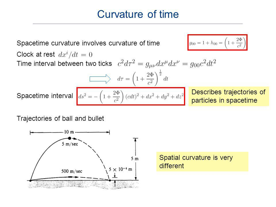 Curvature of time Spacetime curvature involves curvature of time