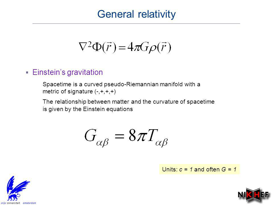 General relativity Einstein's gravitation