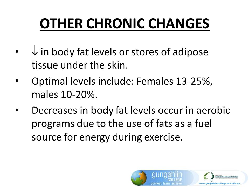 OTHER CHRONIC CHANGES  in body fat levels or stores of adipose tissue under the skin. Optimal levels include: Females 13-25%, males 10-20%.