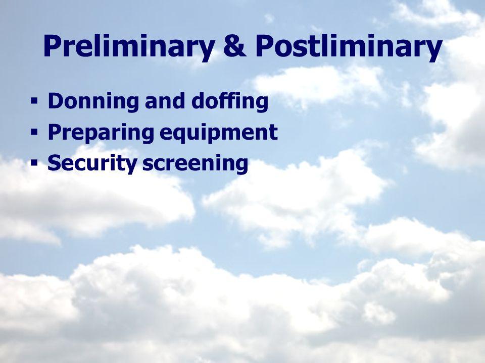 Preliminary & Postliminary