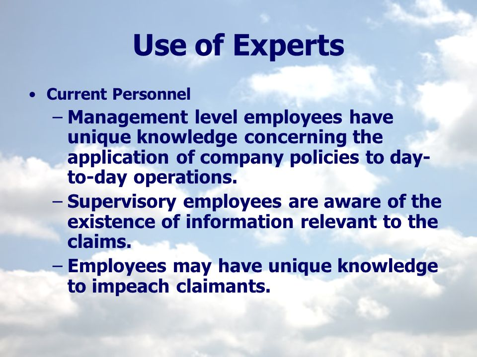 Use of Experts Current Personnel.