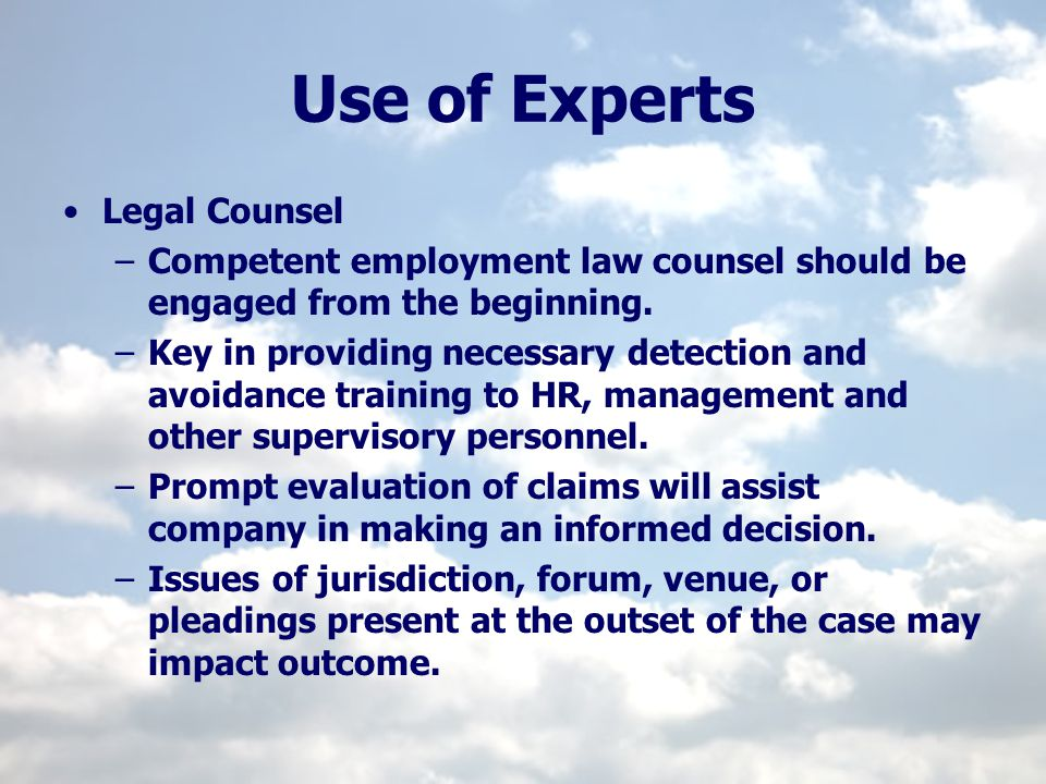 Use of Experts Legal Counsel