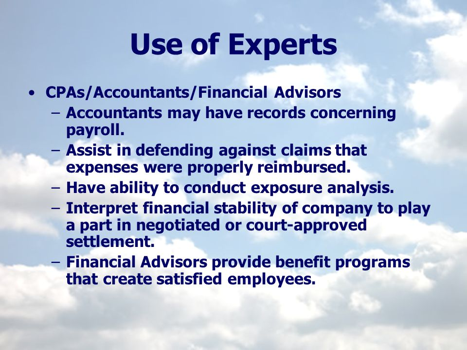 Use of Experts CPAs/Accountants/Financial Advisors