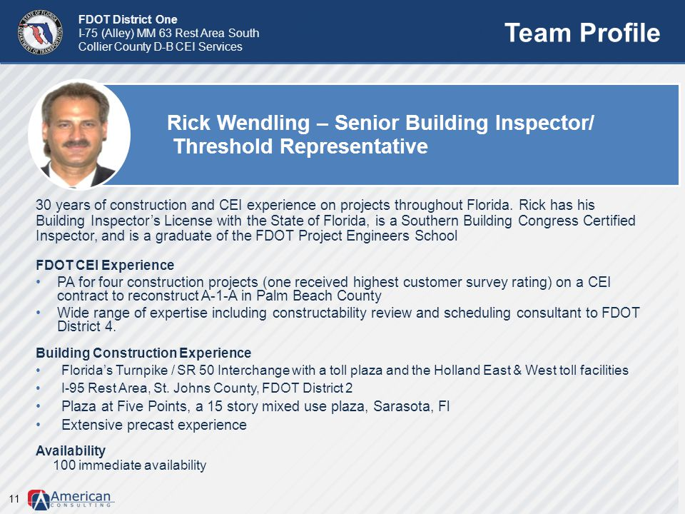 Team Profile Rick Wendling – Senior Building Inspector/ Threshold Representative.