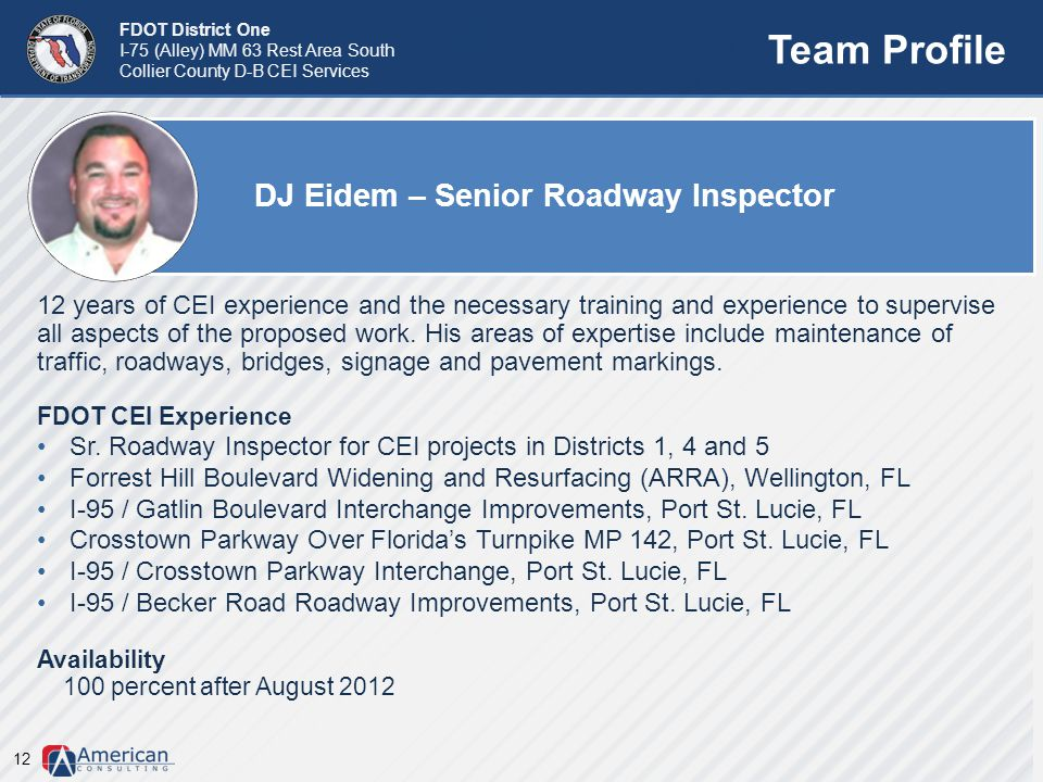 Team Profile DJ Eidem – Senior Roadway Inspector